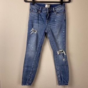 WE THE FREE Distressed Bleached Raw Hem Jeans 26
